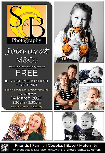 FREE In-Store Photo Shoot + 7x5 Print at M&Co 14.03.2020